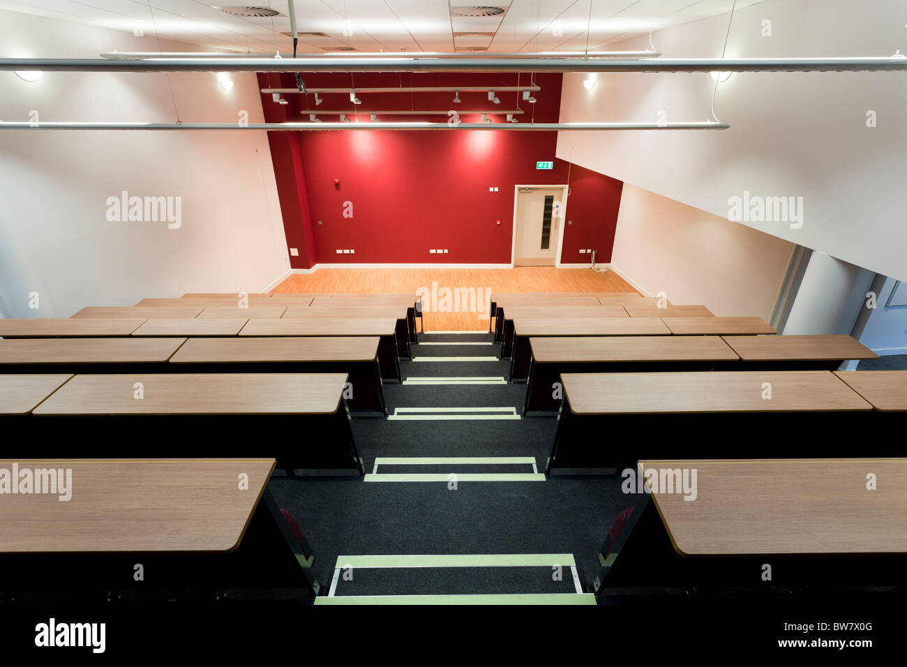 foldaway tiered seating to school hall at Portsmouth Grammar School New Science Block - Stock Image
