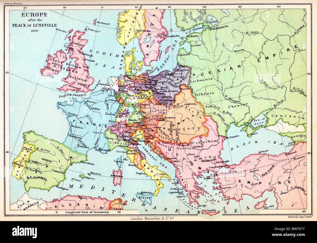 A Map of Europe after the Peace of Luneville, 1801; Colour Illustration; - Stock Image