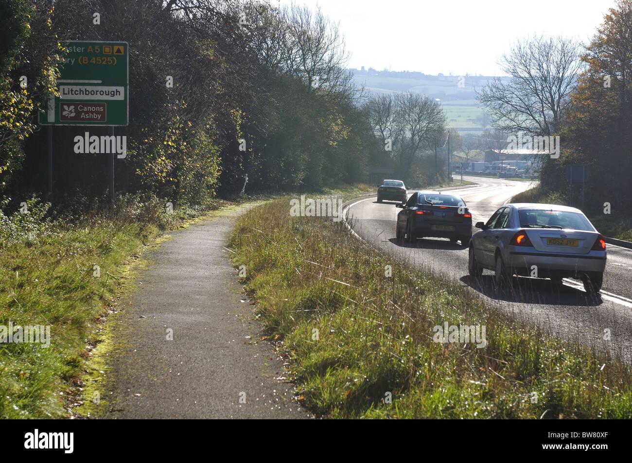 A5 road, Watling Street, Northamptonshire, England, UK - Stock Image