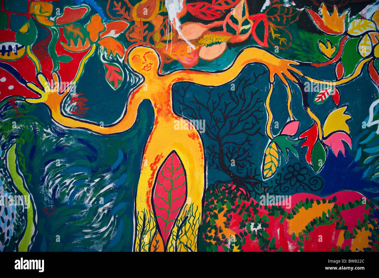 Colorful Abstract Wall Painting Of Mother Nature Quito Ecuador