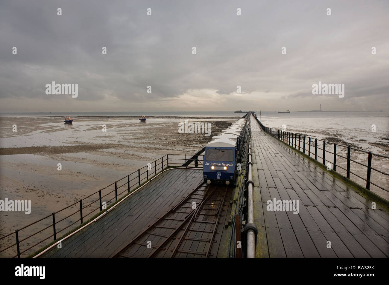 Southend Pier, Southend on Sea, Essex, Britain. A wet day out on Southend Pier pier which is one and a quarter miles - Stock Image