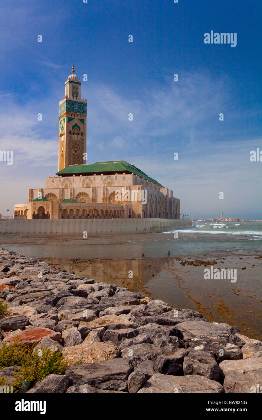 The seaside Hassan II mosque in Casablanca, Morocco. - Stock Image