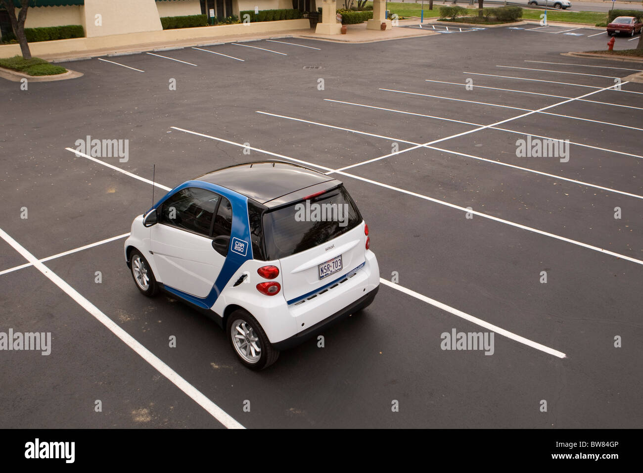 SmartforTwo car made by Daimler drives around Austin as the