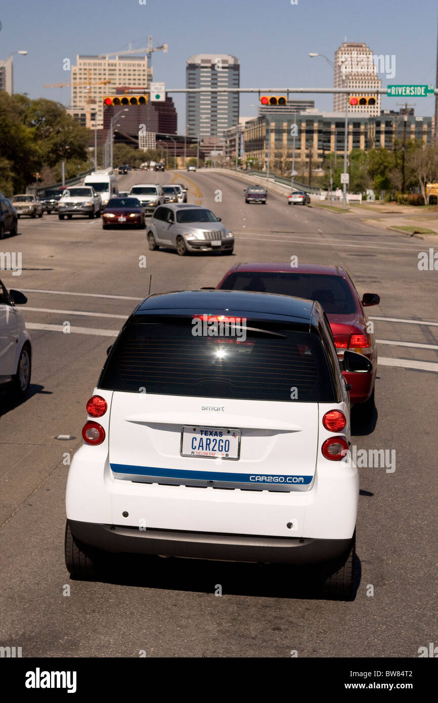 Smartfortwo Car Made By Daimler Drives Around Austin As The German