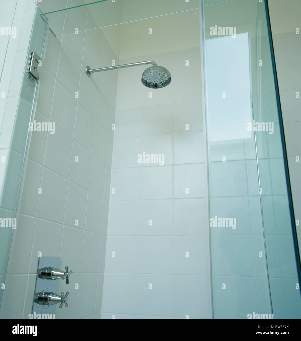 Shower Bathroom Monochromatic Glass Stock Photos & Shower Bathroom ...