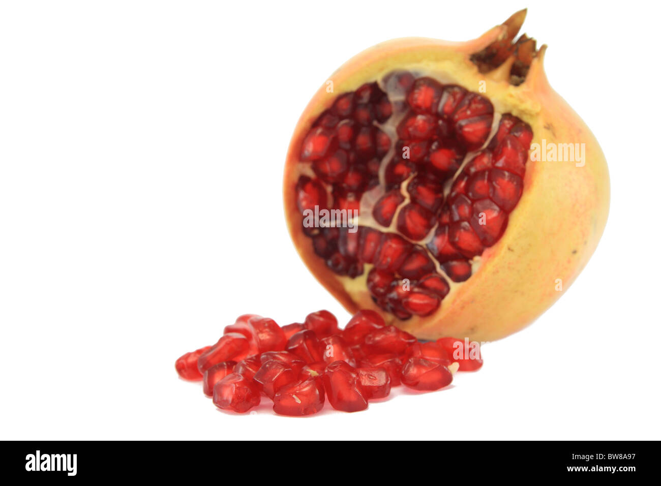Granat apple with seed with white background - Stock Image