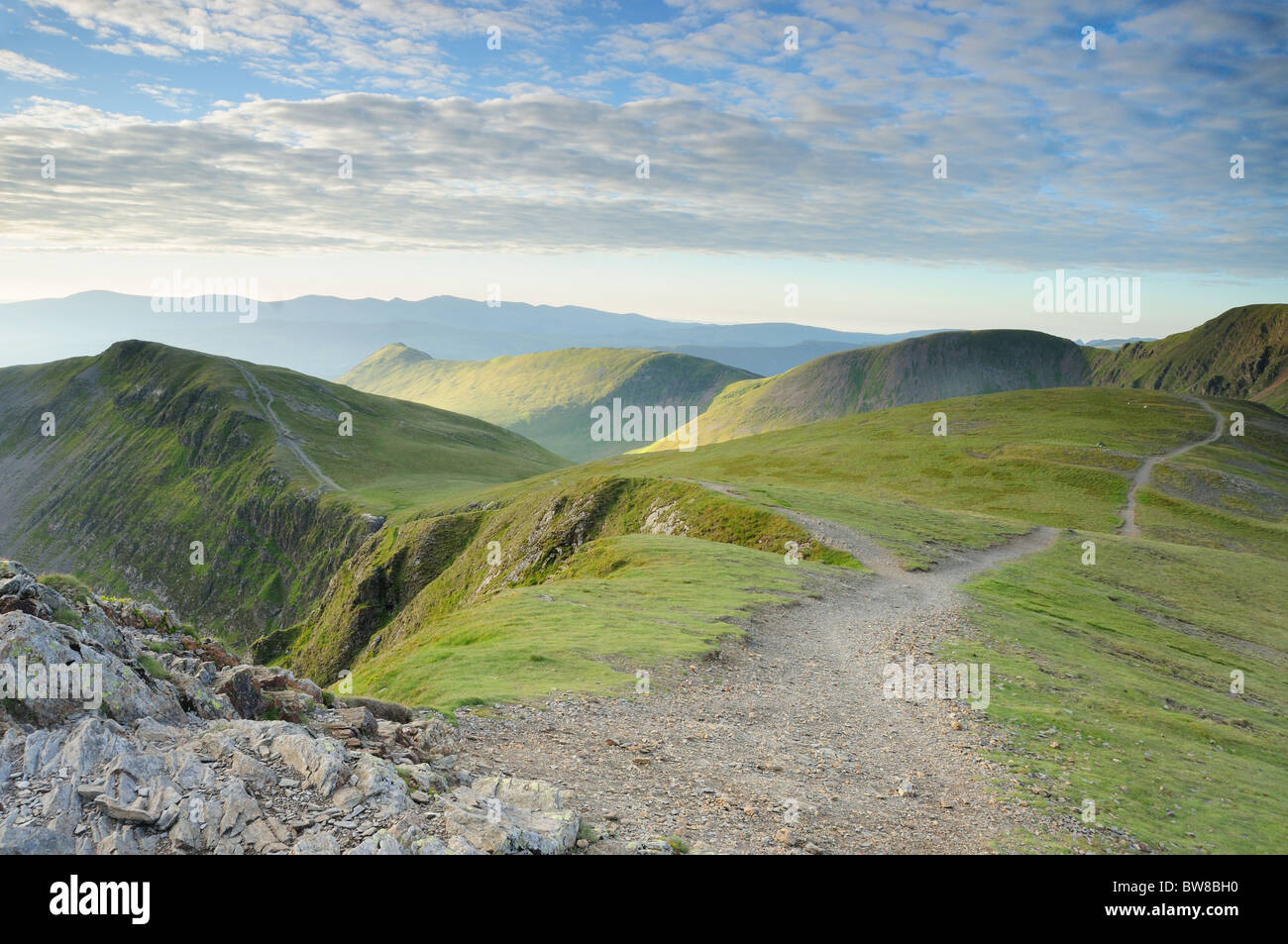 View from the summit of Hopegill Head, looking back along the footpath towards Causey Pike in the English Lake District Stock Photo