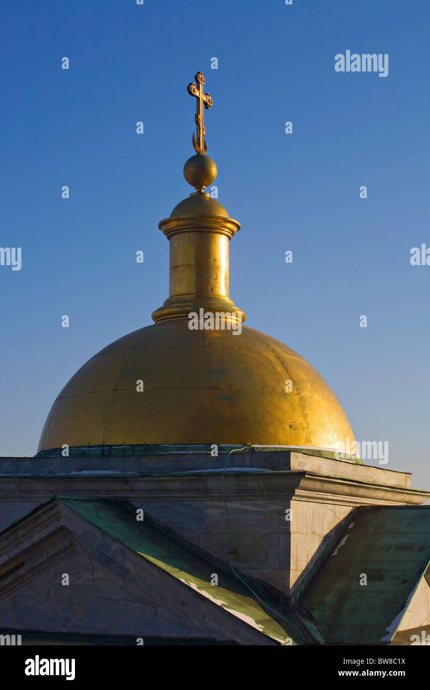 "Golden cupola with cross on the roof of St Isaac's Cathedral ""St Petersburg"" Russia Stock Photo"