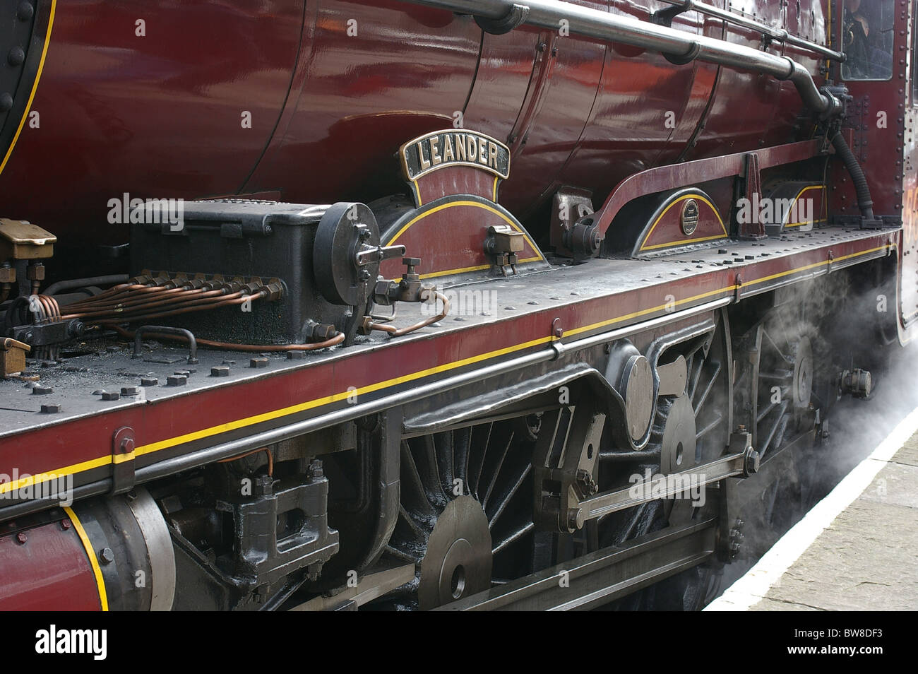 Leander 45690 steam locomotive at Ramsbottom Station, Lancashire - Stock Image
