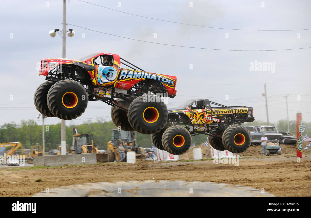 Monster Trucks at freestyle competition at 4x4 Off-Road Jamboree Monster Truck Show at Lima, Ohio. - Stock Image