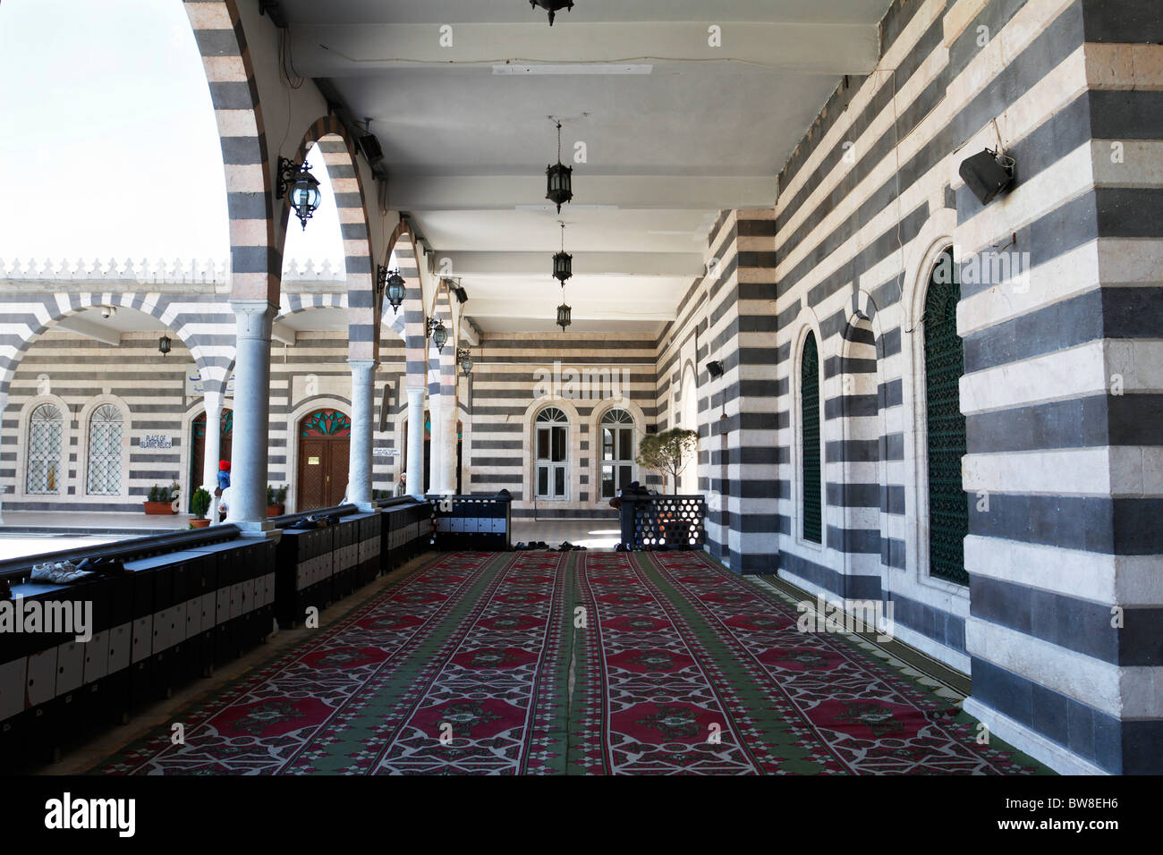 The corridor at Khalid Al-Walid mosque in Homs, Syria. - Stock Image