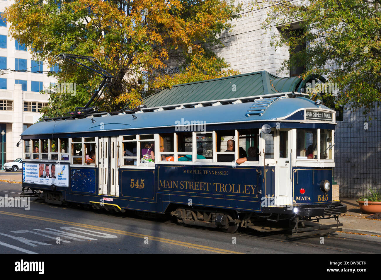 Main Street Trolley on Main Street, Memphis, Tennessee, USA - Stock Image