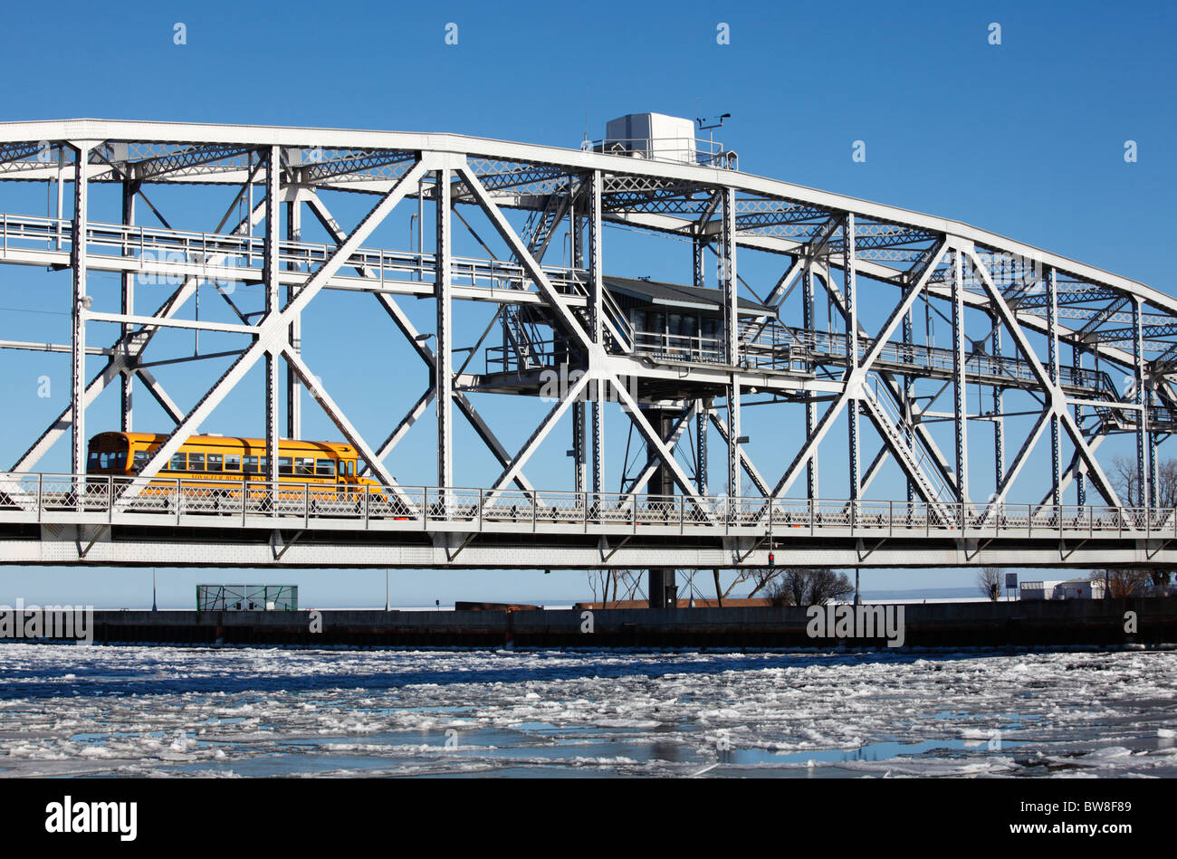 Winter view of the aerial lift bridge in Duluth, Minnesota. - Stock Image
