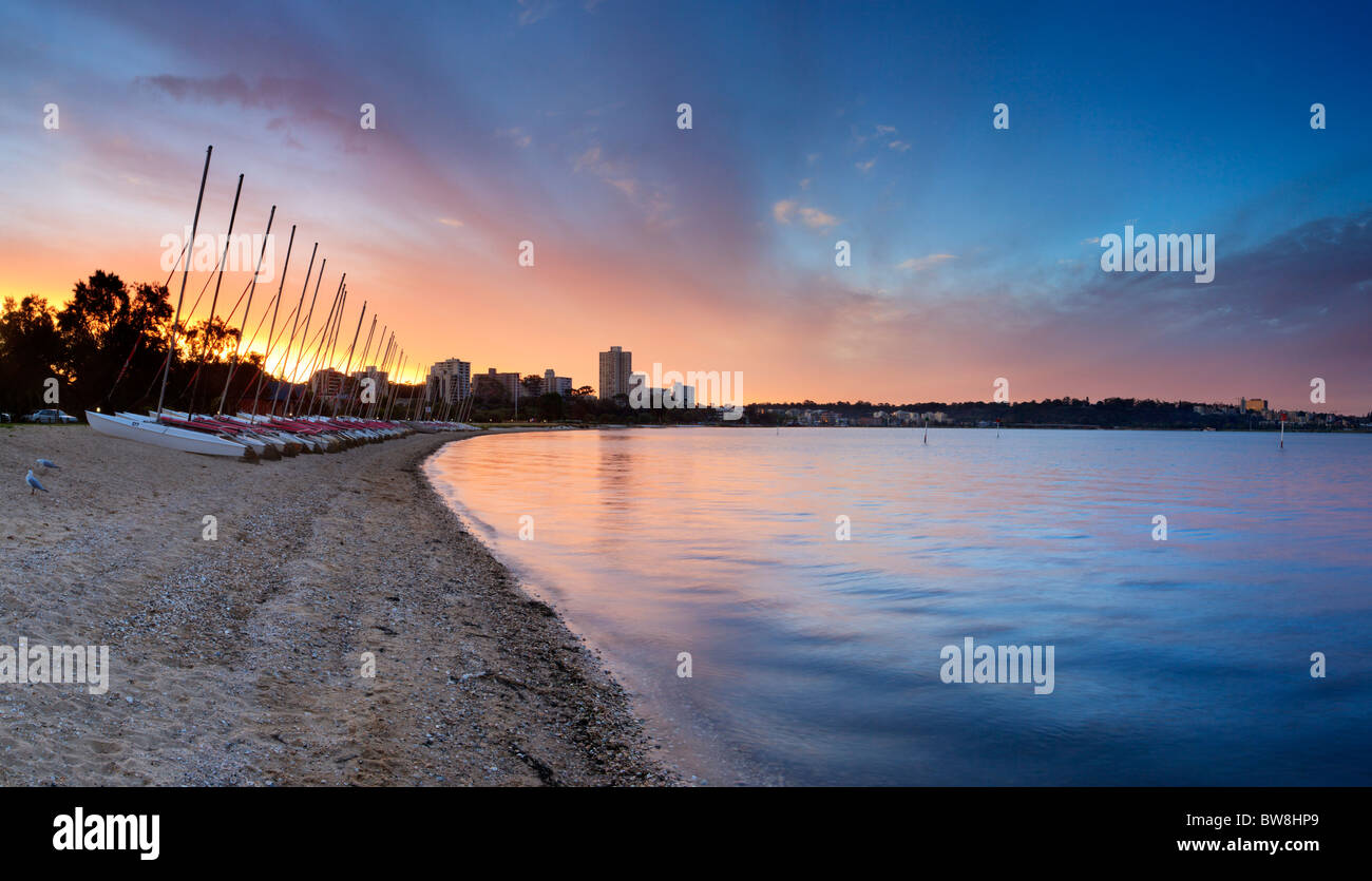 South Perth foreshore at sunset. Perth, Western Australia - Stock Image
