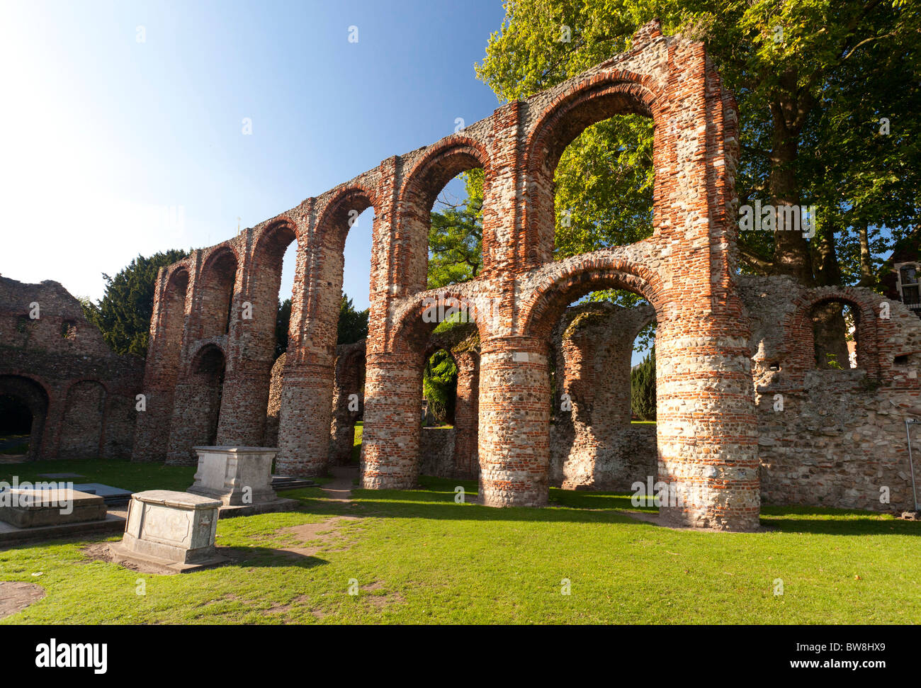 remains of St. Botolph's Priory in Colchester, Essex, UK - Stock Image