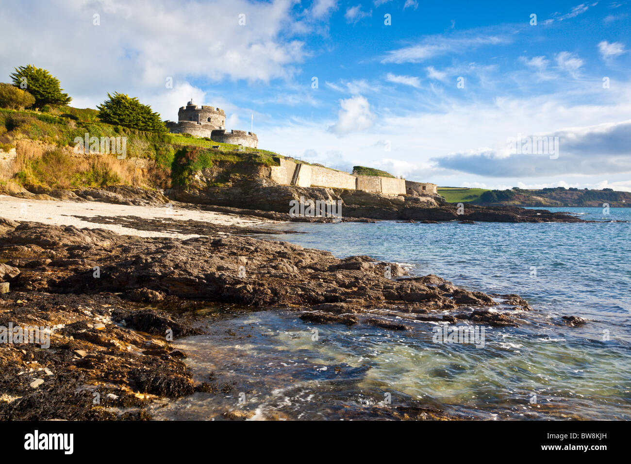 St Mawes Castle Cornwall from the beach below Stock Photo