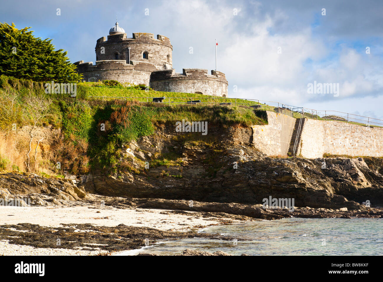 St Mawes Castle Cornwall from the beach below - Stock Image