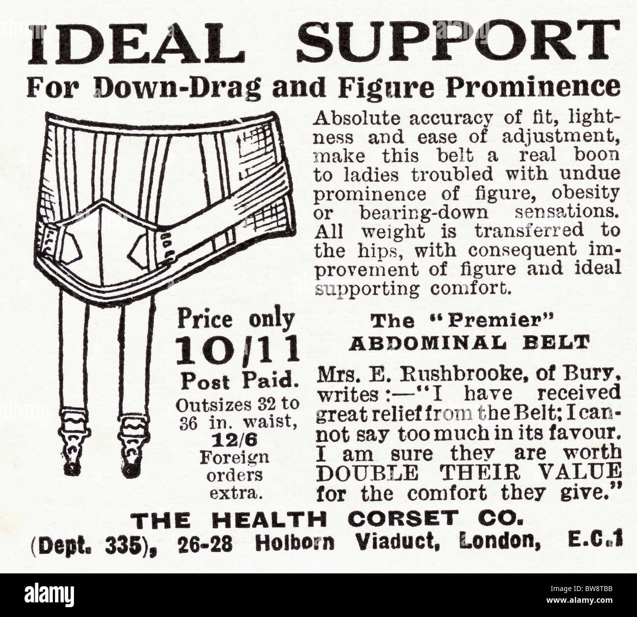 Advertisement for abdominal belt corset in English magazine dated 1928 - Stock Image