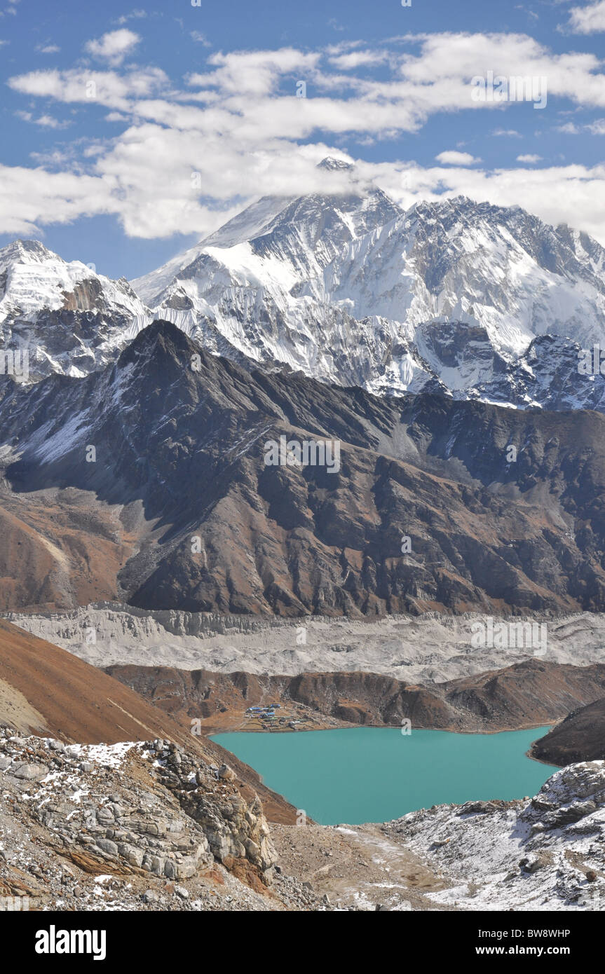 Mount Everest and Gokyo Lake, Himalaya, Nepal - Stock Image