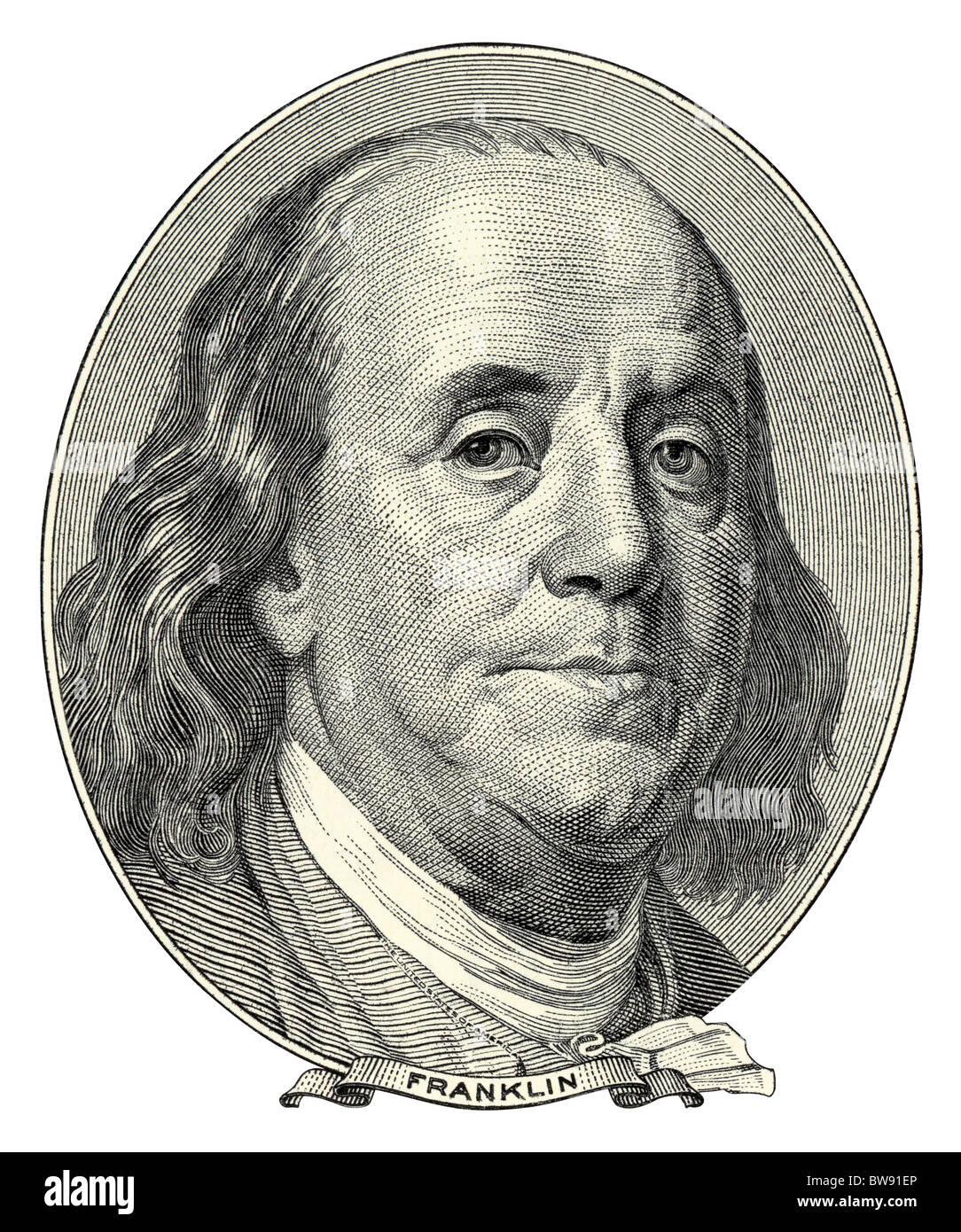 Portrait of Benjamin Franklin as he looks on one hundred dollar bill obverse. NATIVE SIZE NOT UPSCALE. - Stock Image