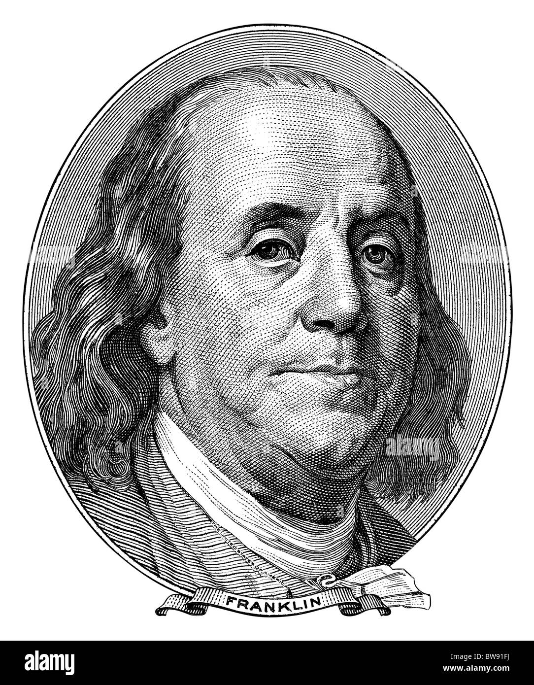 Portrait of Benjamin Franklin from one hundred dollar bill turned into black and white engraving. NATIVE SIZE NOT - Stock Image