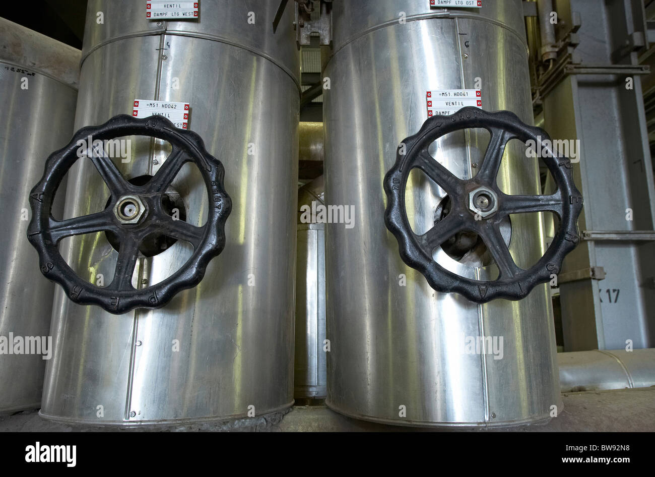 Steam distribution station of Ruhleben sewage treatment plant, Berlin, Germany - Stock Image