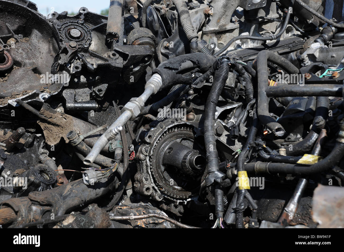 A selection of scrap metal car parts, pipes and tubing - Stock Image