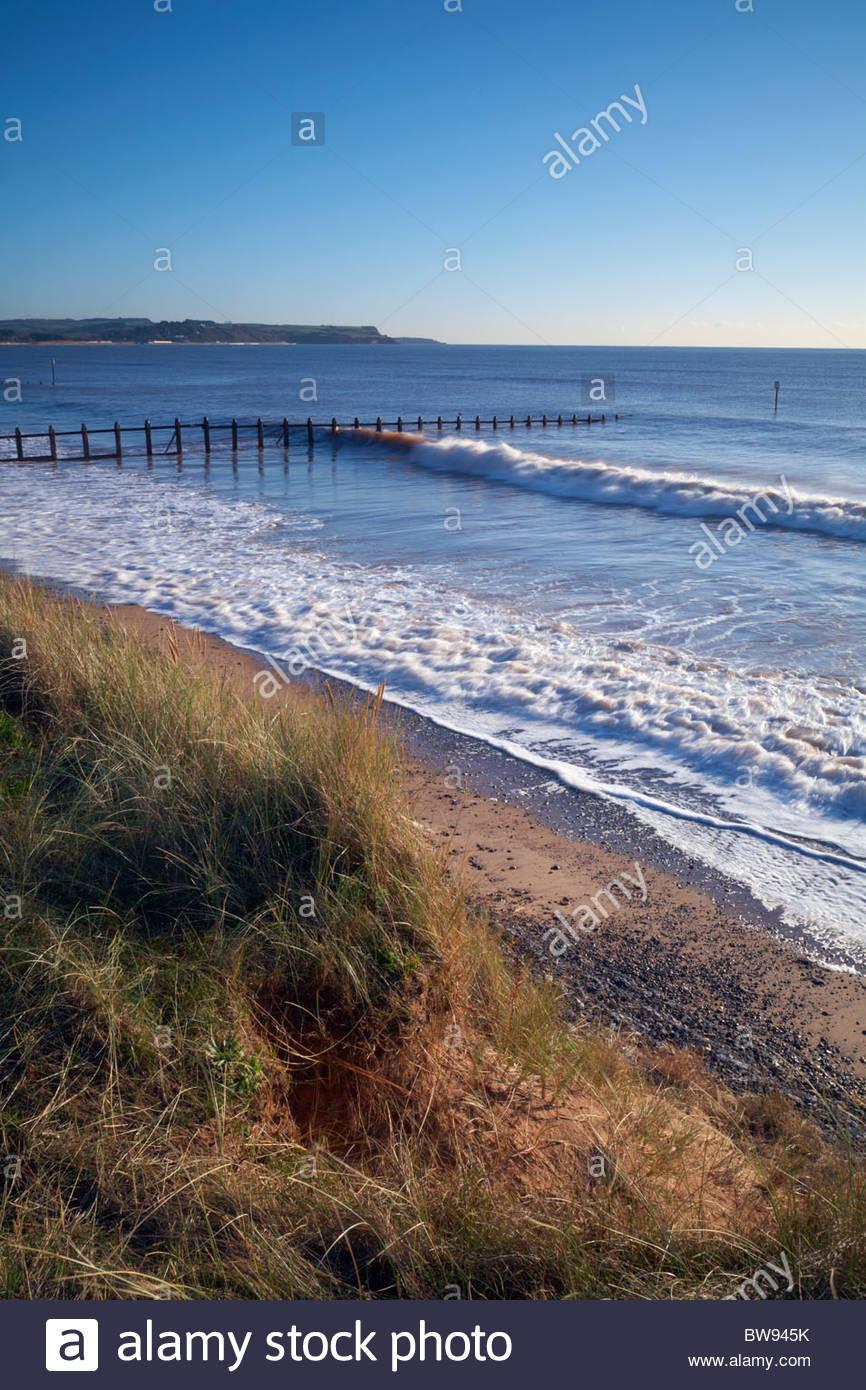 Dawlish Warren National Nature Reserve coastline beside the Exe estuary, Devon, England, UK - Stock Image