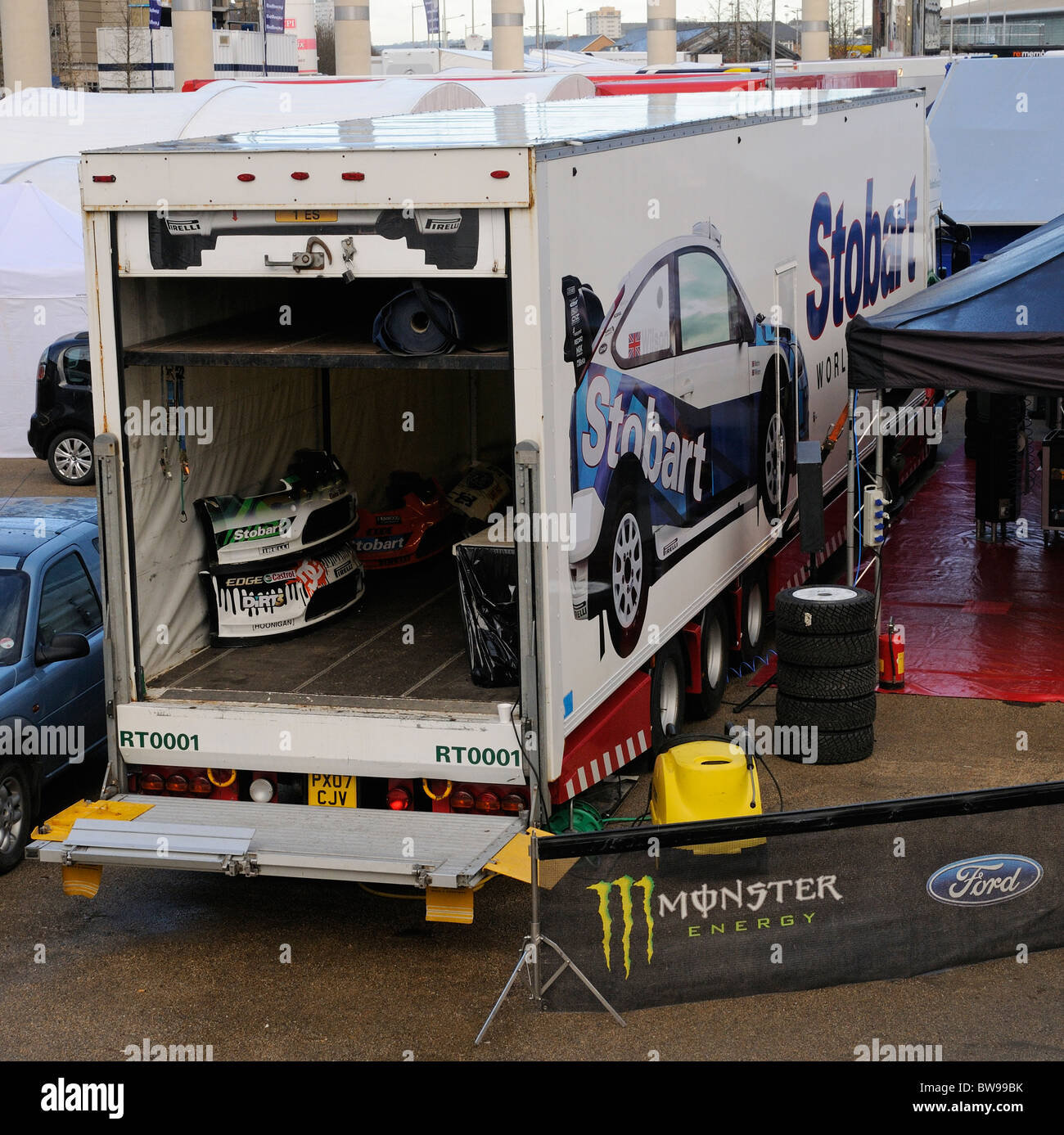 Stobart motor sport truck with car parts stored inside - Stock Image