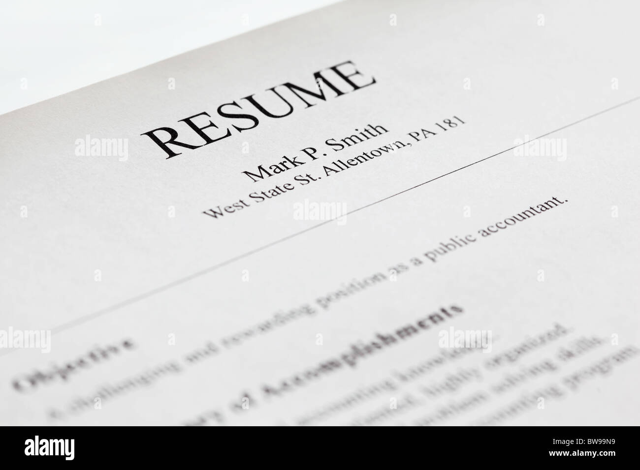 account manager resume form title page close up shallow dof stock