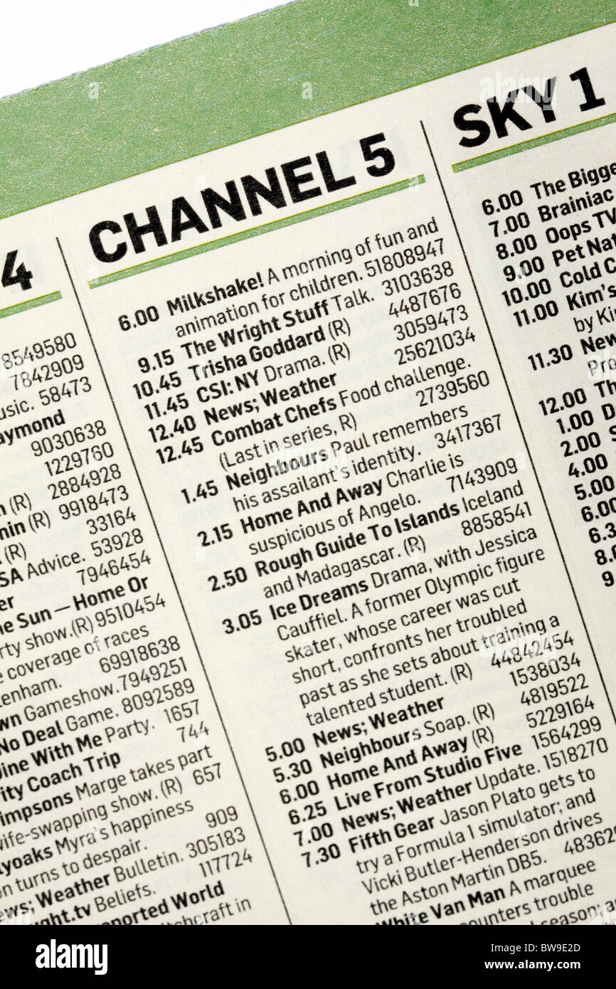 Channel 5 TV program guide program listing Stock Photo