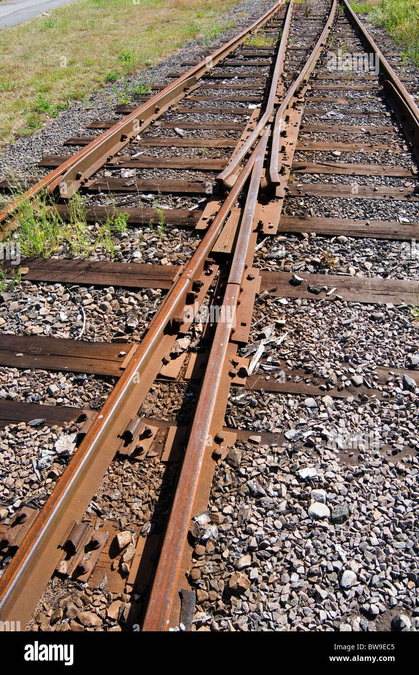 train tracks railway lines rail rails going off the parallel line disused investment investments in infrastructure - Stock Image