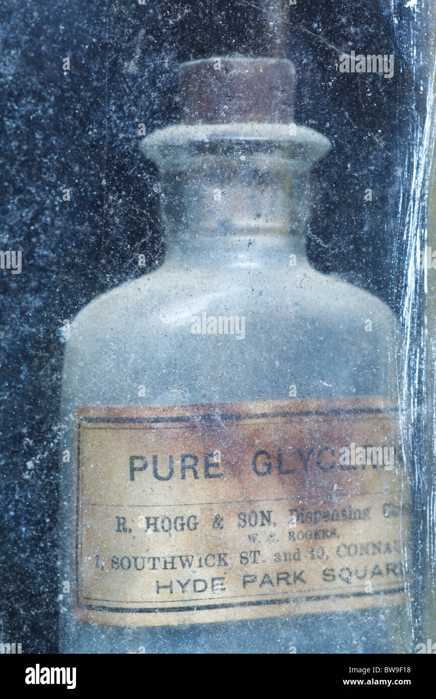 Old bottle of Pure Glycerin - Stock Image