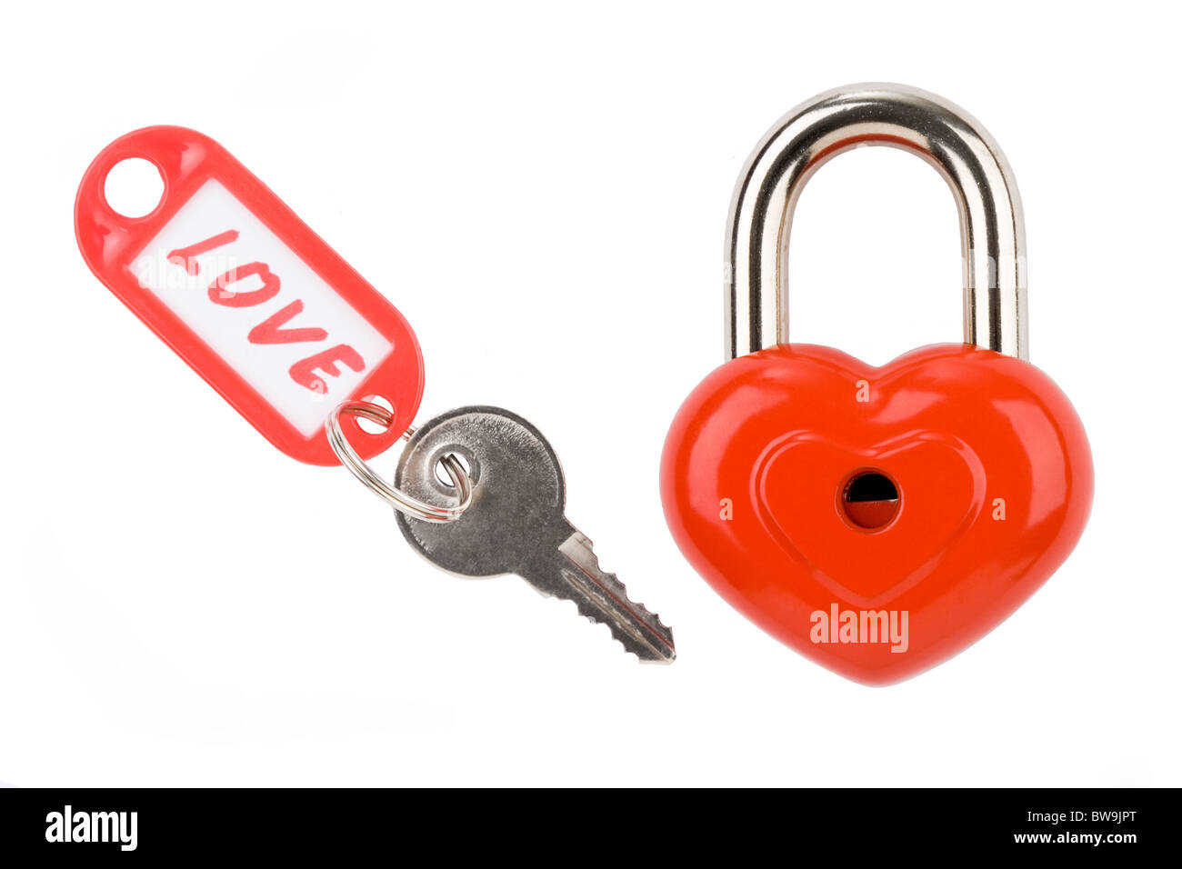 Photo of padlock and key with love label on a white background Stock Photo