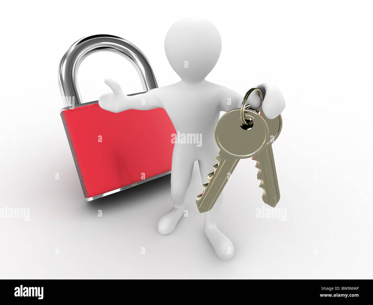 Men with keys and lock. 3d - Stock Image