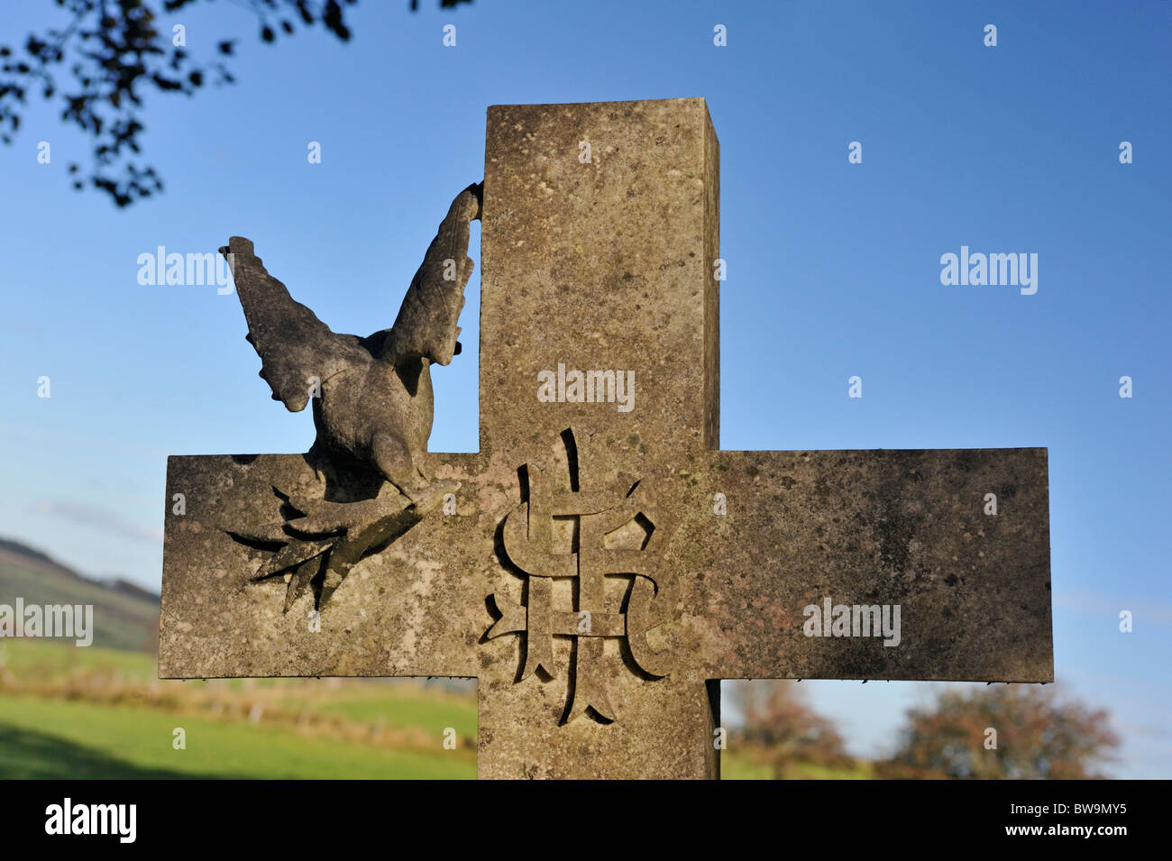 Memorial Cross With Ihs Symbol Dove And Olive Branch Church Of