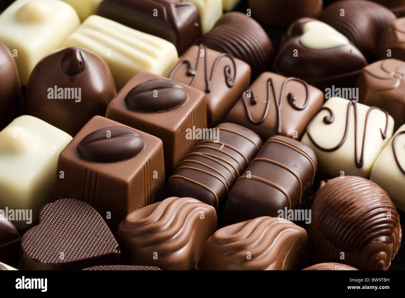various chocolate pralines - Stock Image