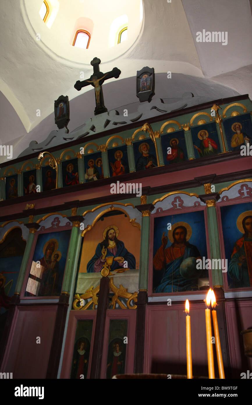 Inside an Orthodox church in Karpathos Stock Photo