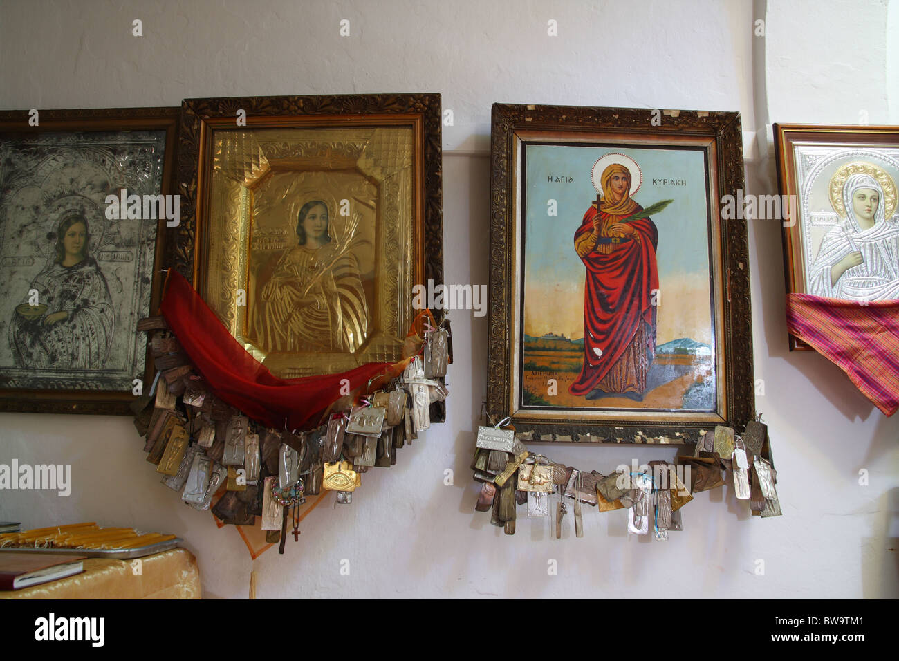 Inside an Orthodox church in Karpathos Stock Photo