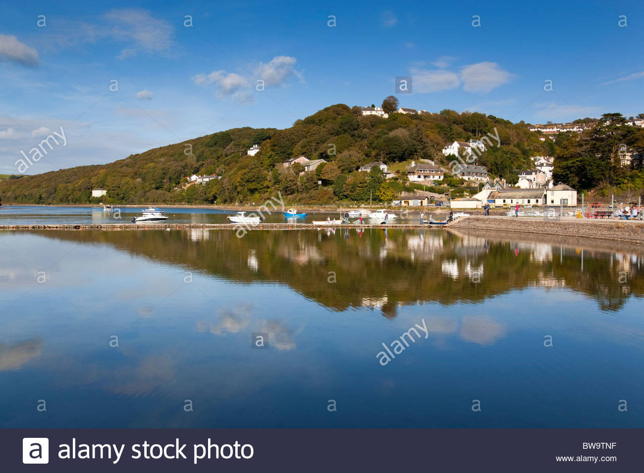Looe; breakwater and inner harbour; Cornwall - Stock Image