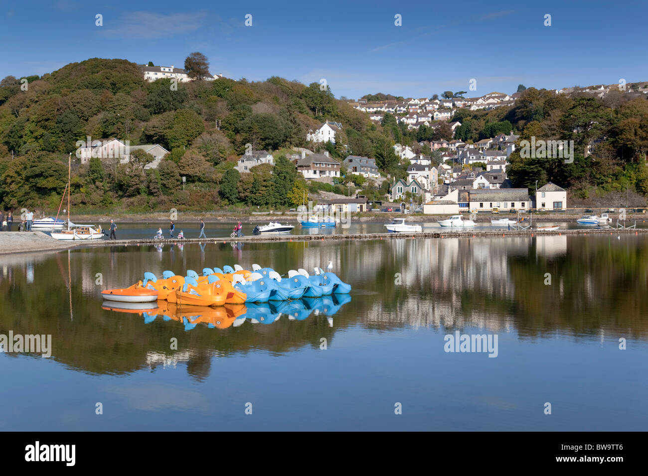 Looe; inner harbour and breakwater; Cornwall - Stock Image
