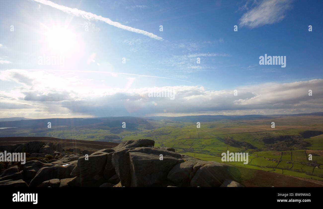 Grainy landscape view north west from Simon's Seat, Wharfedale, North Yorkshire - Stock Image