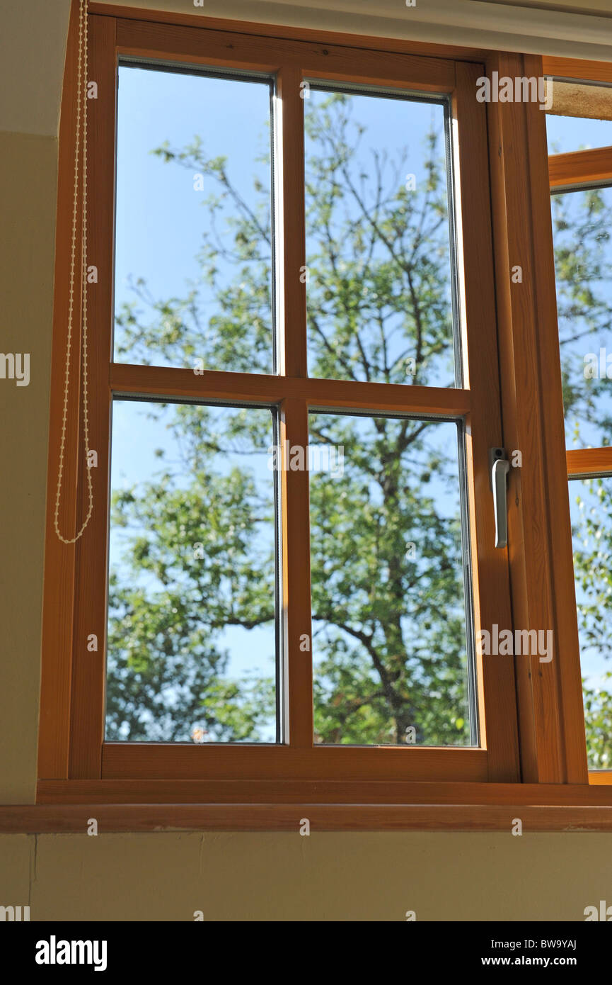 Double glazed wooden window frame in the home. - Stock Image