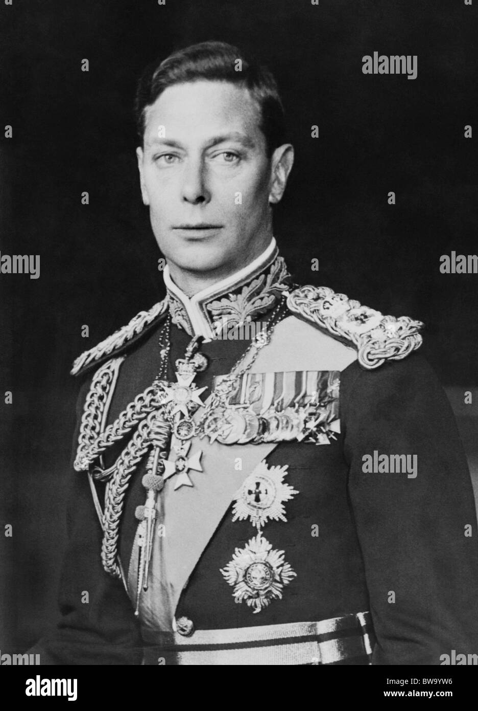 Portrait photo c1940s of George VI (1895 - 1952) - King of the United Kingdom from December 11 1936 until his death - Stock Image