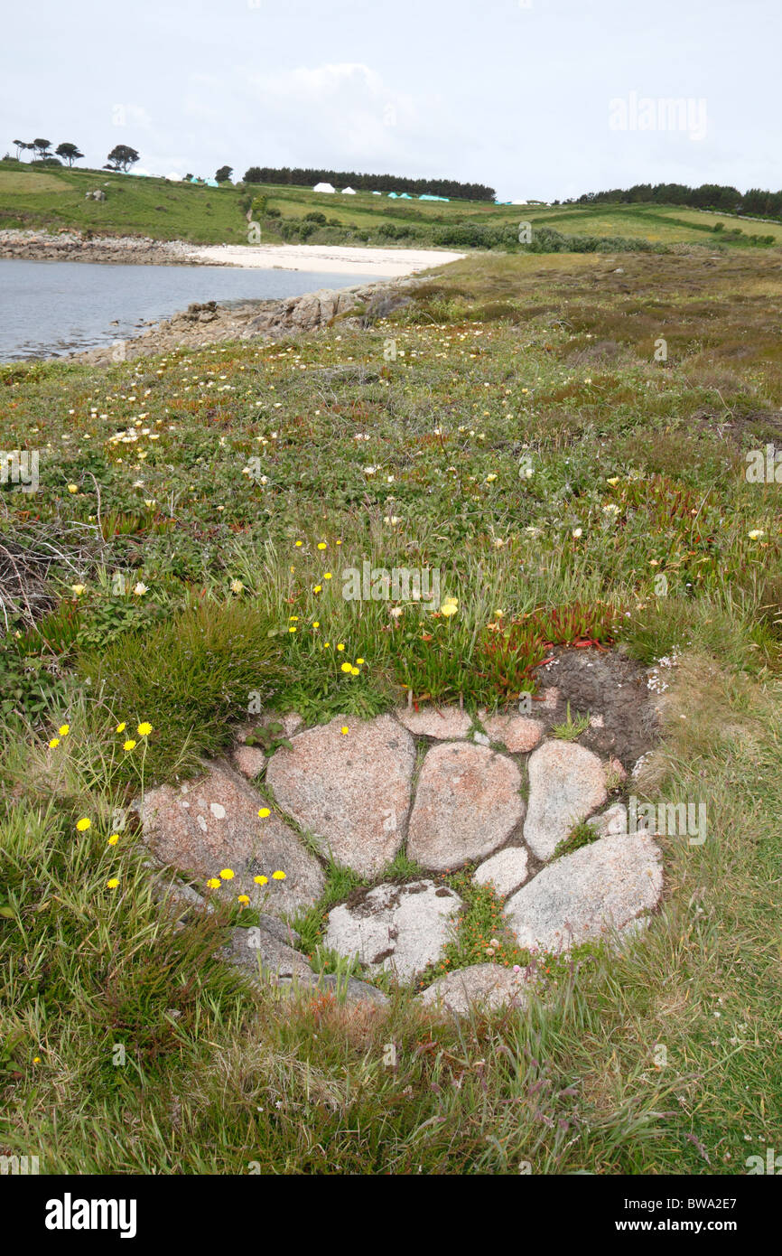 A kelp pit on Toll's island, St. Mary's Isles of Scilly Cornwall UK. - Stock Image