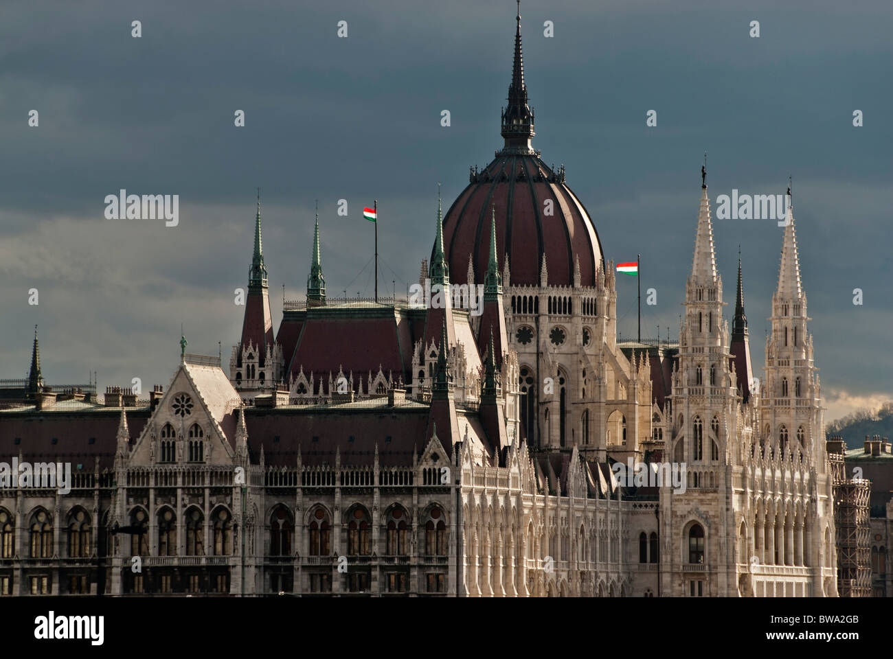 View of the parliament of Hungary by the Danube, Budapest, Hungary, Europe - Stock Image