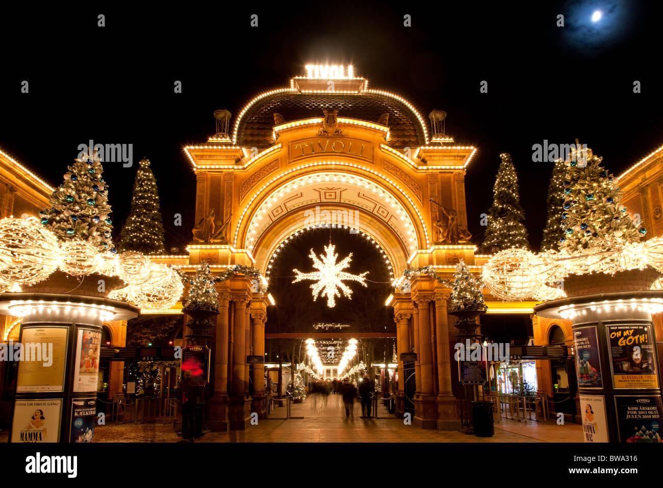The main entrance to romatic christmas in Tivoli Copenhagen - Stock Image