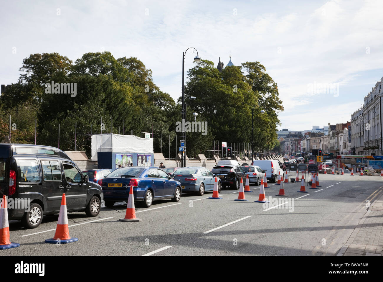UK, Britain. Roadworks causing a traffic jam in the city centre. - Stock Image