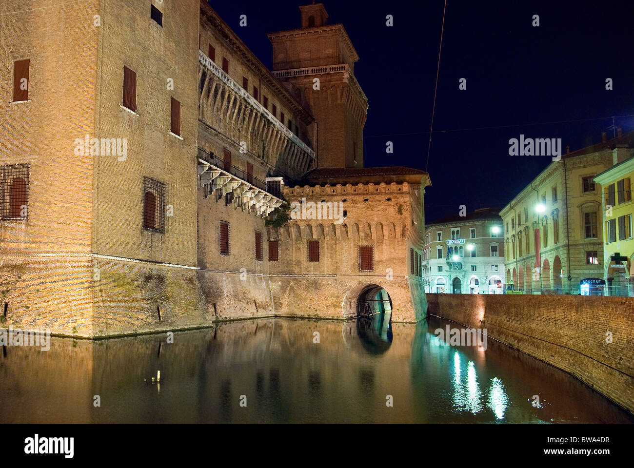 Castle Estense, Ferrara, nightime - Stock Image