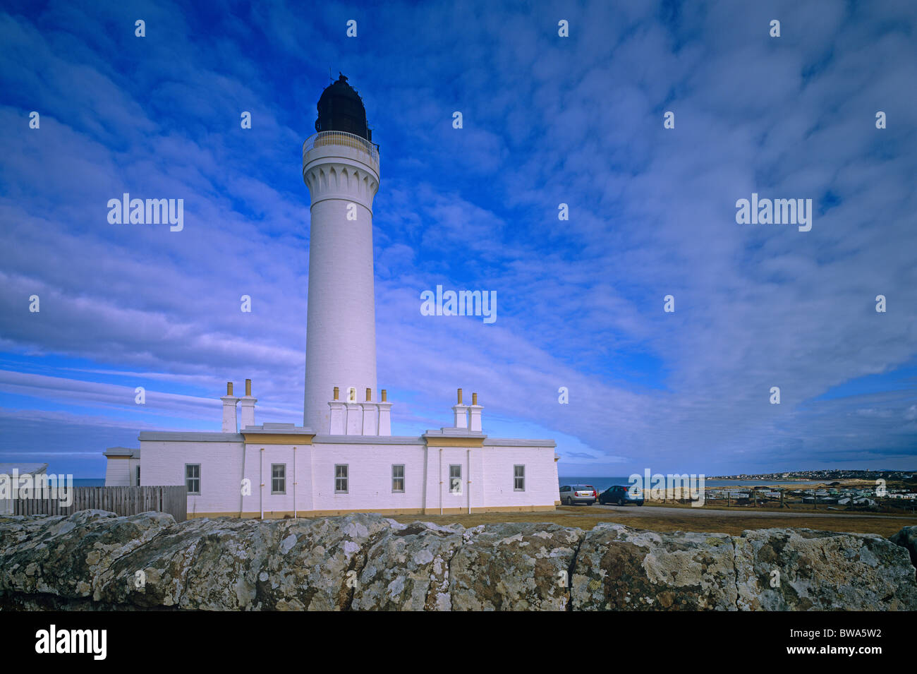 Covesea Skerries Lighthouse at Lossiemouth, Moray Firth, Scotland - Stock Image